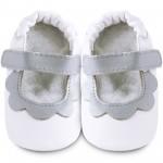 Chaussons bébé Shooshoos blancs Petales Gris