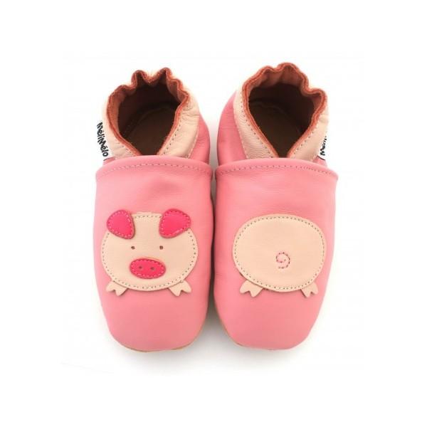00c067b94ef67 Symbioza - chaussons en cuir souple meli melo bio cochons roses