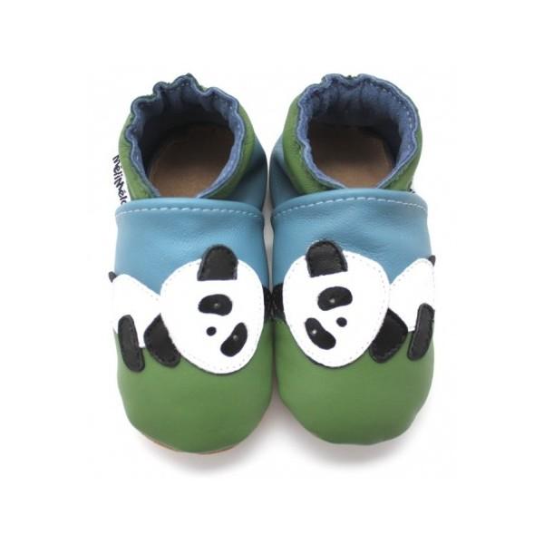 93429d5299595 Symbioza - chaussons en cuir souple meli melo bio Panda bleu vert