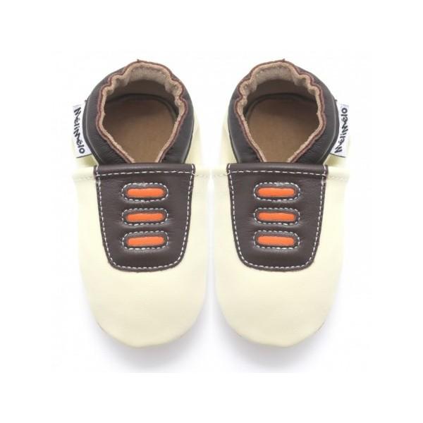 bfe561e2b6913 Symbioza - chaussons en cuir souple meli melo bio Tennis beige