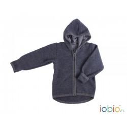 Veste à capuche en laine foulée Iobio