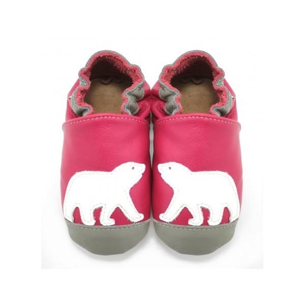 bfa01d16891bc Symbioza - chaussons en cuir souple meli melo bio ours polaire rose