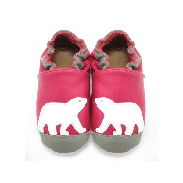 47fa8ab38bba3 Symbioza - chaussons en cuir souple meli melo bio ours polaire rose