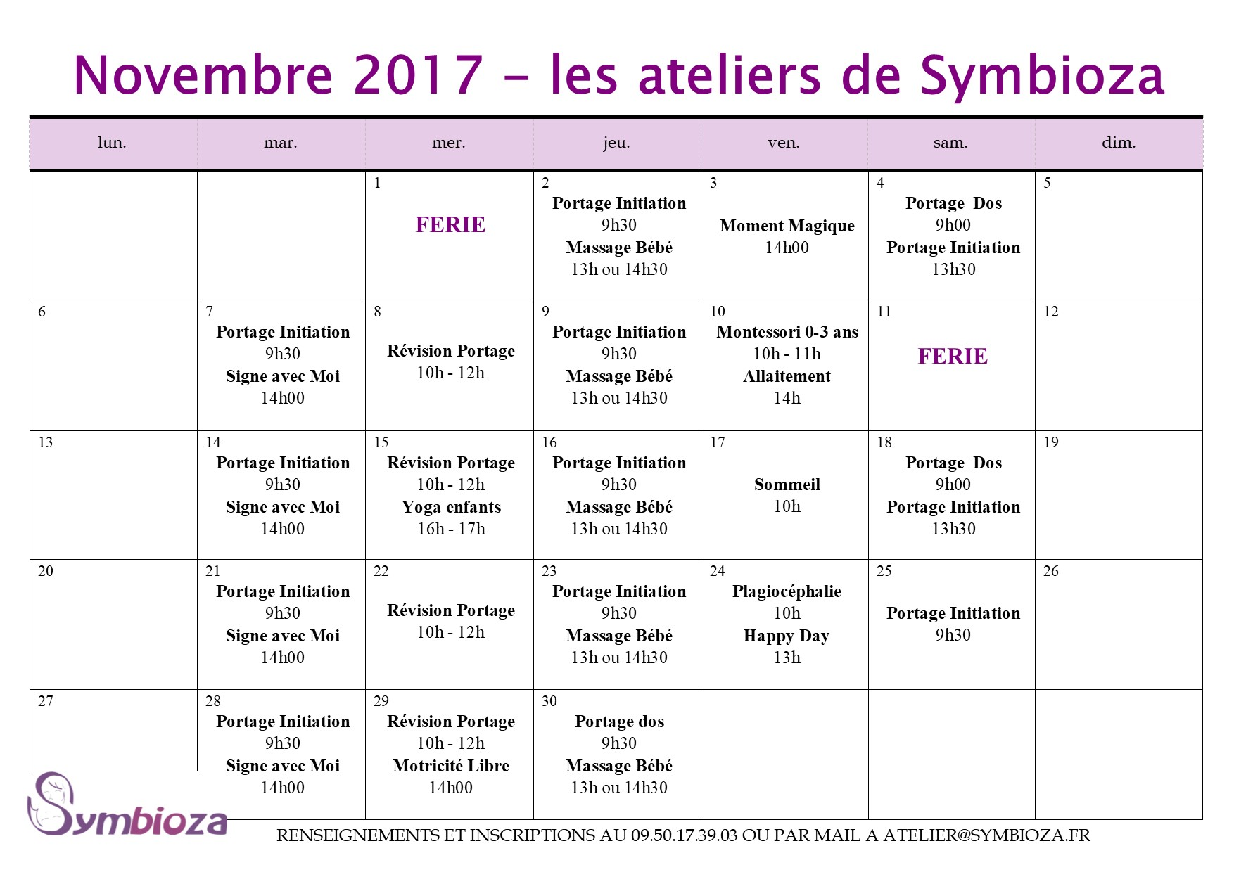 Planning des animations de Novembre
