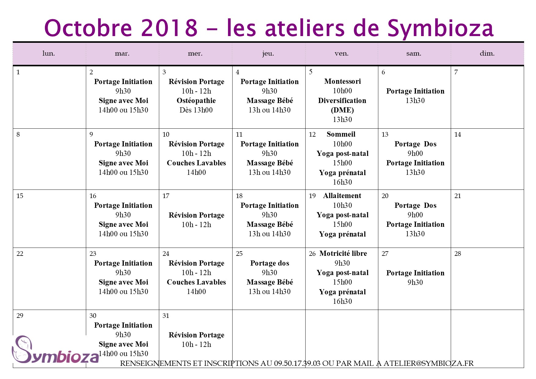 Planning des animations de Octobre 2018