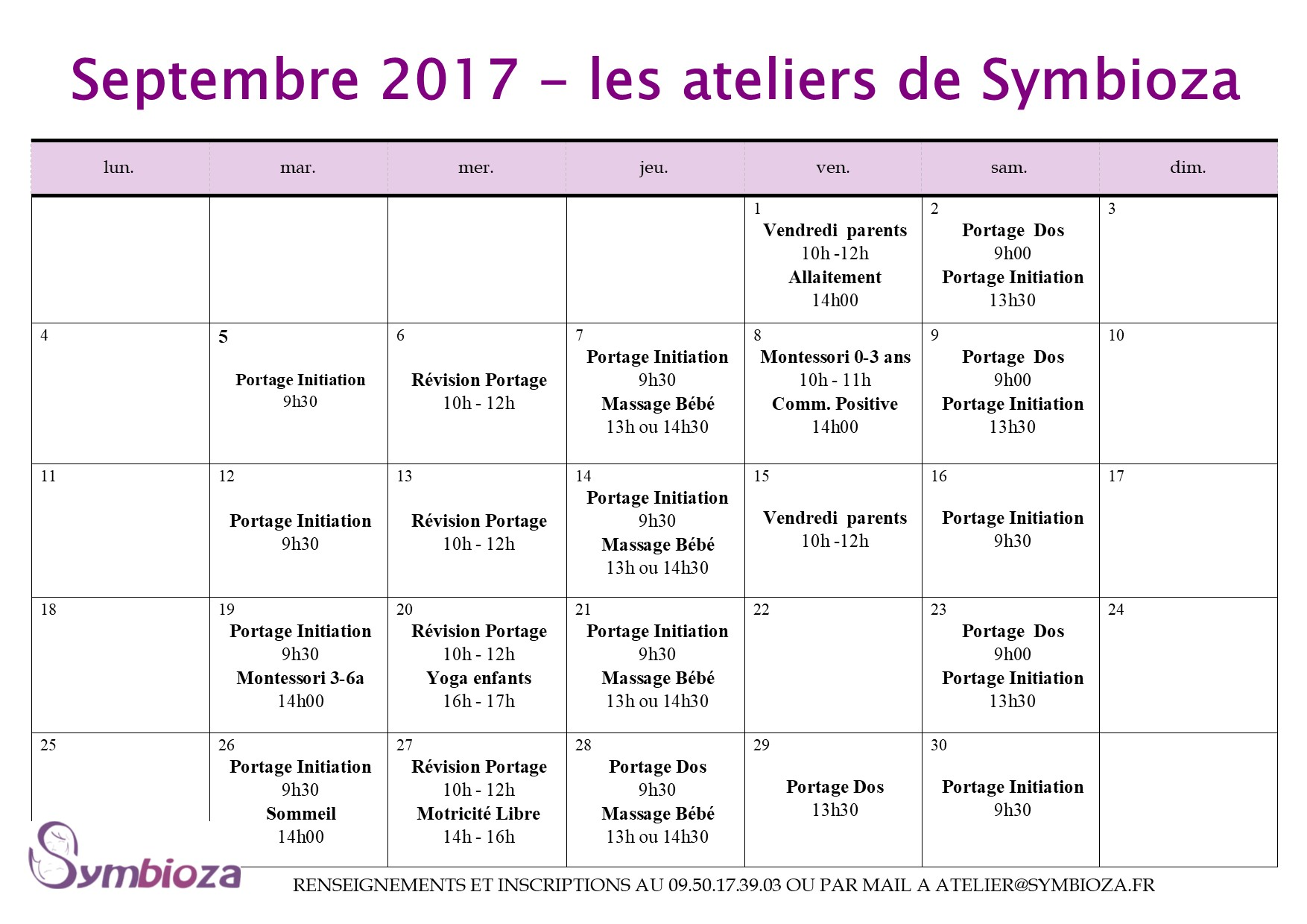 Planning des animations de Septembre