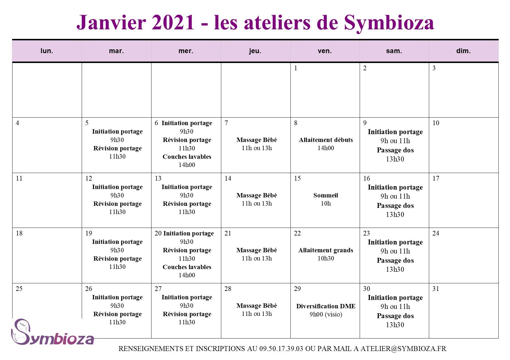Les ateliers de janvier 2021