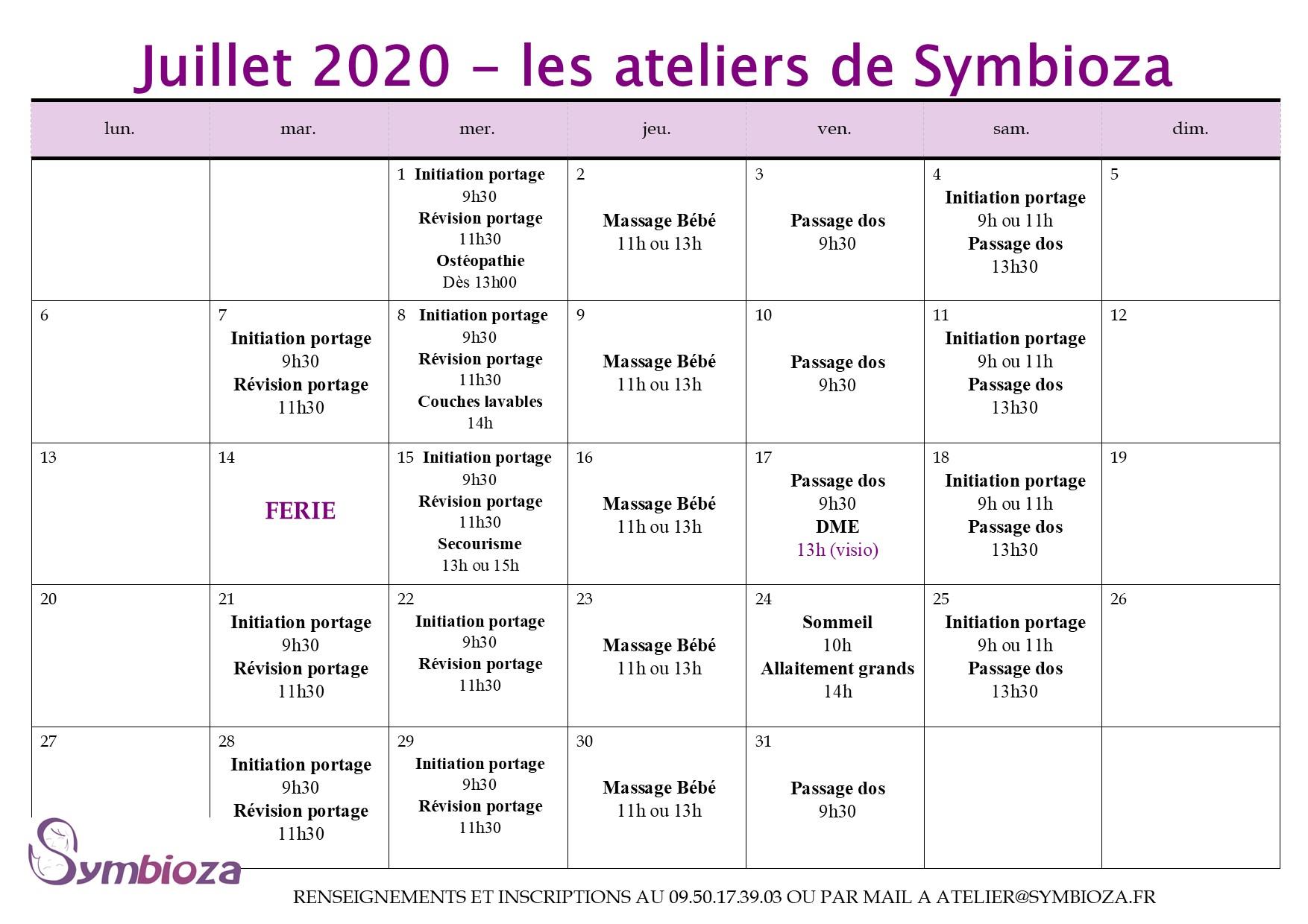 Planning de Juillet 2020