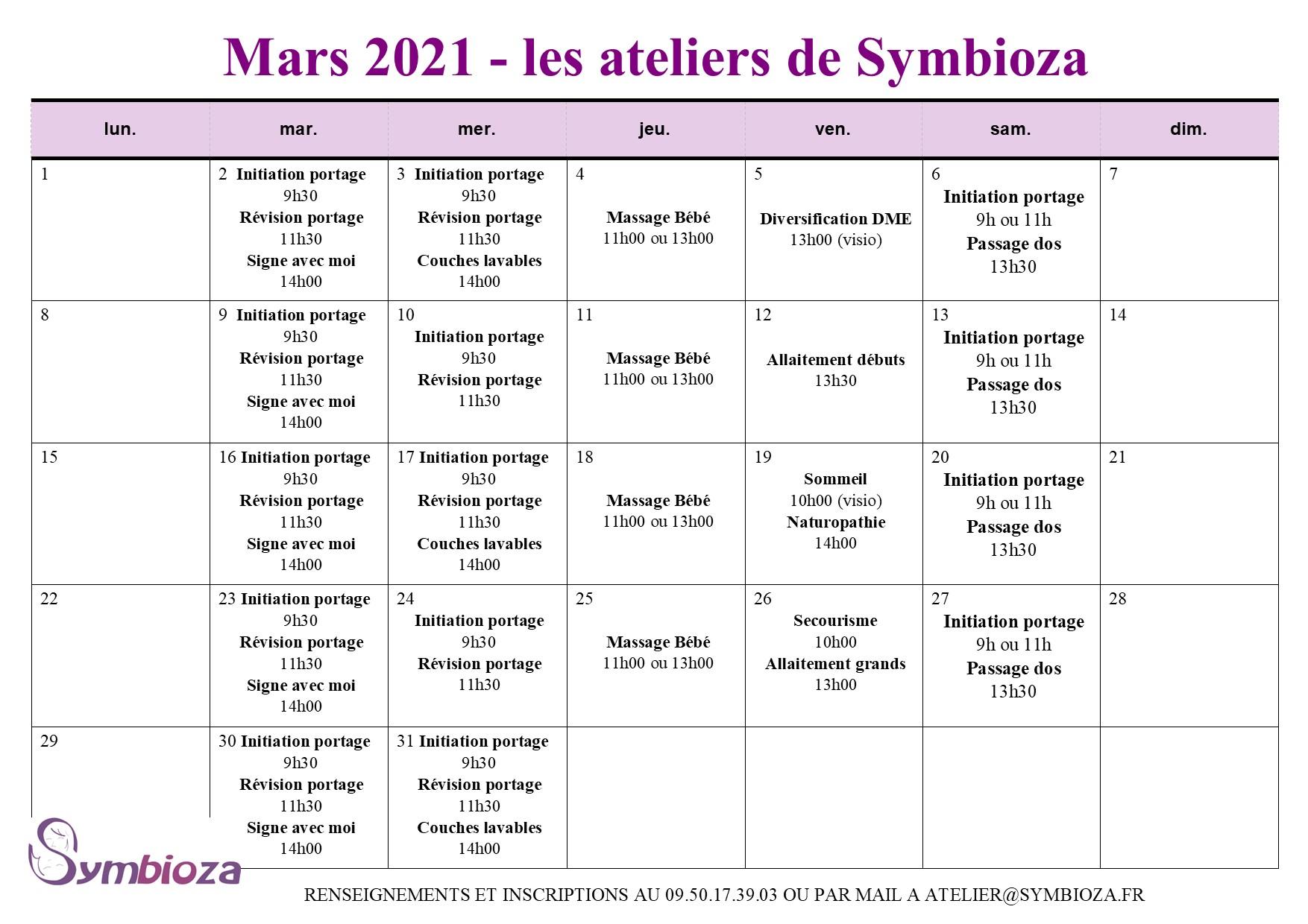Les ateliers de mars 2021