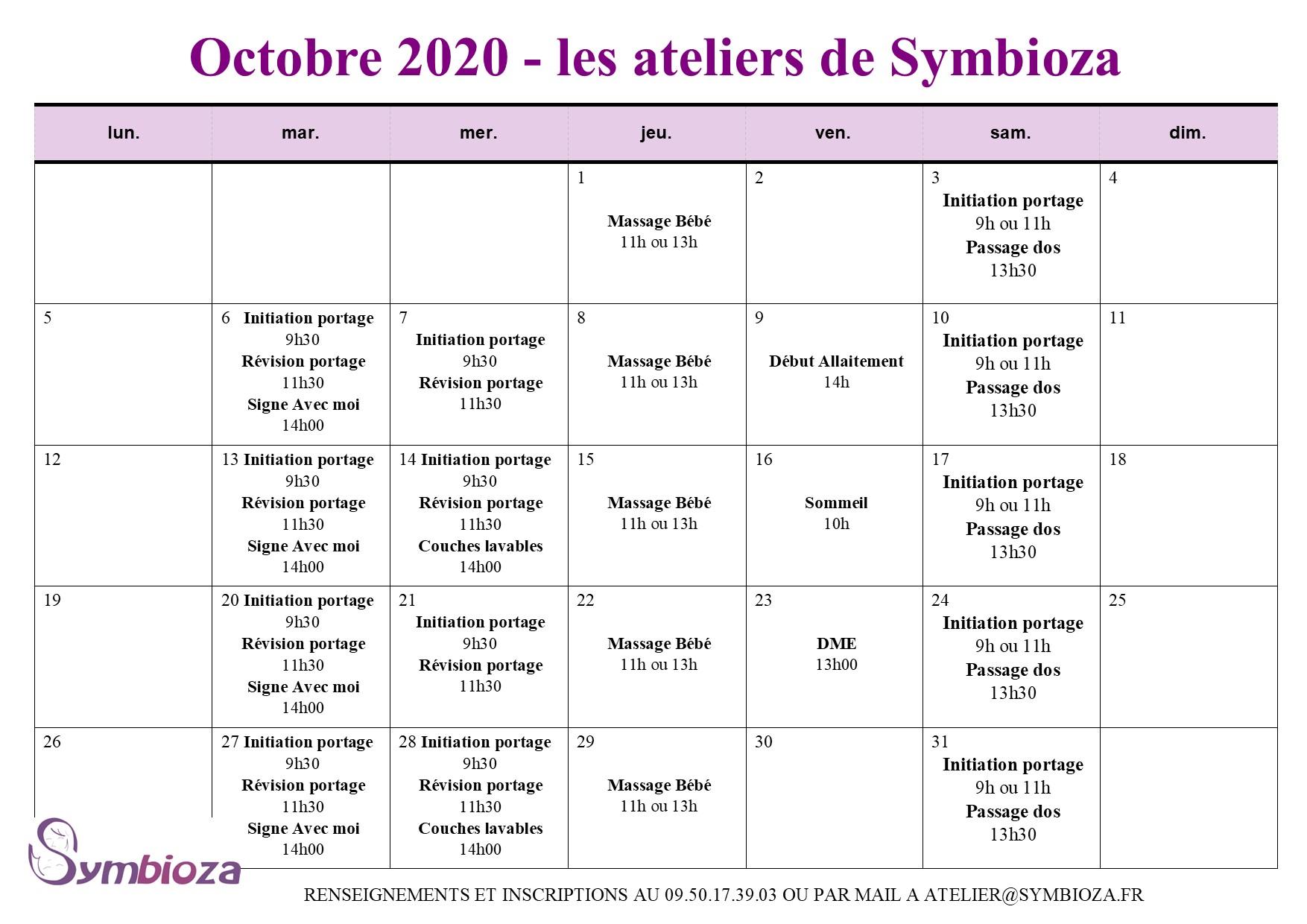 Les ateliers d'Octobre 2020